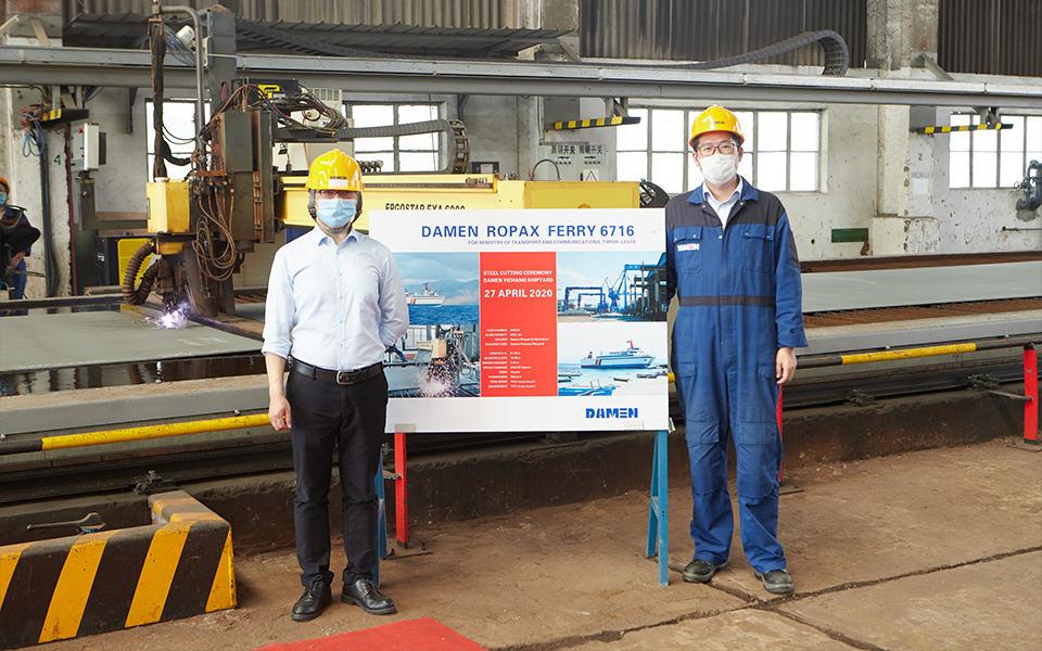 Damen hosts digital steel-cutting ceremony  for RoPax vessel