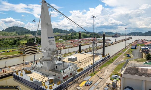 Damen concludes Keel Laying on 75-metre Crane Barge  for a project in Panama