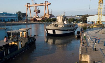 Ports of Auckland's fully electric Damen RSD-E Tug 2513 launched at Song Cam Shipyard