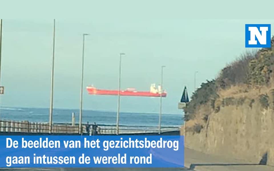 Bizar : schip lijkt in de lucht te zweven door optische illusie
