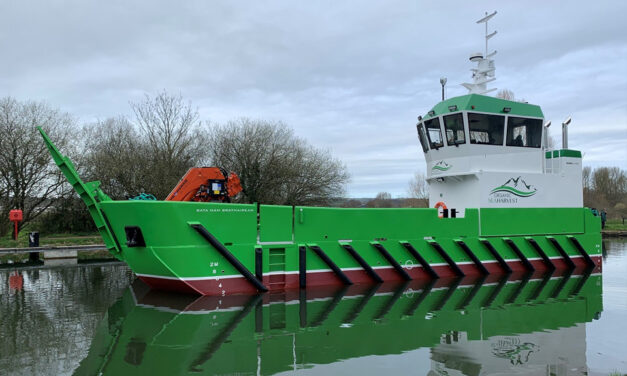 Damen delivers new LUV 1908 aquaculture support vessel to Organic Sea Harvest